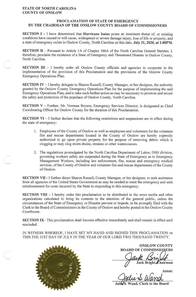 Proclamation of State of Emergency for Onslow County